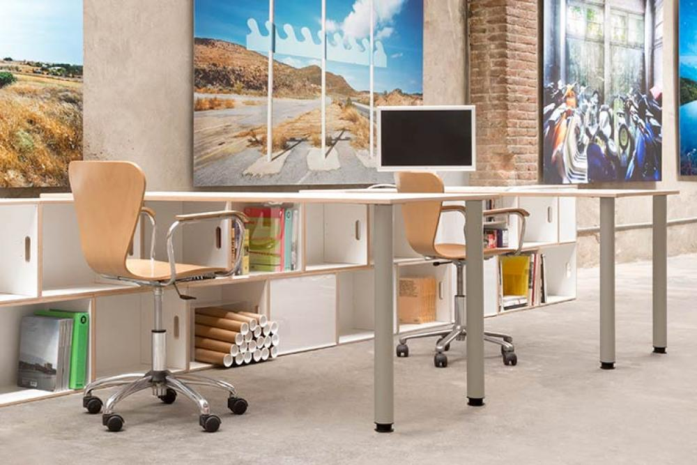 Office tables with new metal legs in gray
