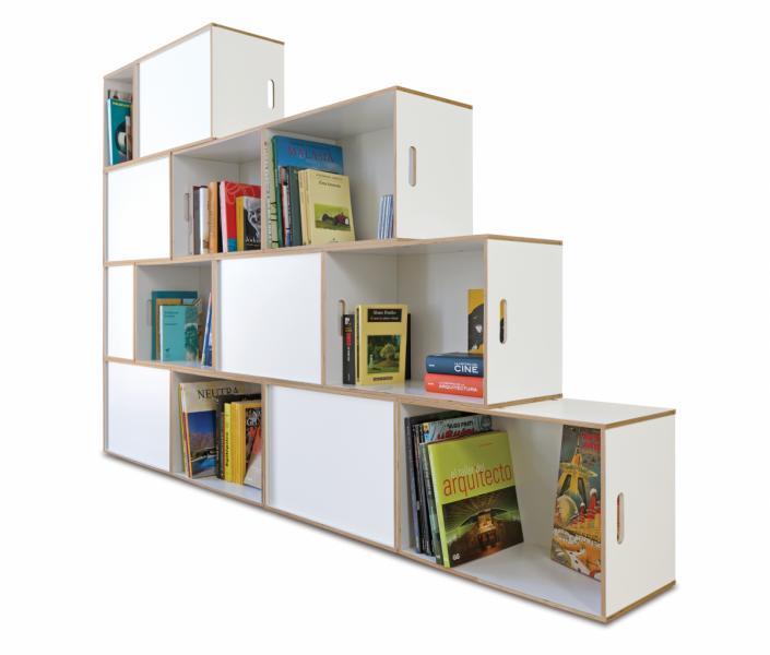 regal treppe brickbox regale modulare bibliotheken. Black Bedroom Furniture Sets. Home Design Ideas
